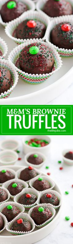 These M&M'S® Brownie Truffles are an easy chocolate dessert recipe and an excellent gift to give this holiday season. It's a super-simple recipe made with rich, fudgy brownies and a surprise in the middle. These are a pretty addition to any Christmas cookie platter that the whole family will love! #ad #BakeInTheFun @walmart