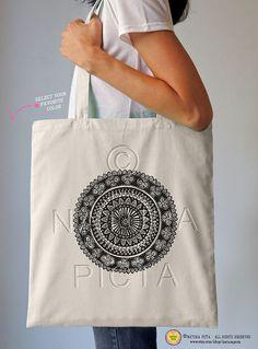 Hand-drawn Mandala tote bag-Mandala tote-Boho by naturapicta