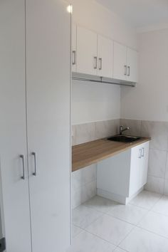Layout.  Note Benchtop - Polytec Natural Oak matt  Panels - Polytec Ultra White Createc