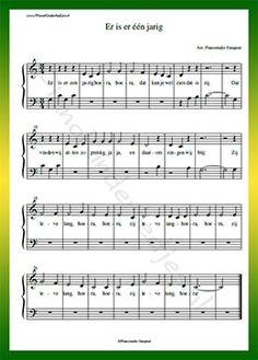 Er is er een jarig - Gratis bladmuziek van kinderliedjes in eenvoudige zetting voor piano. Piano leren spelen met bekende liedjes.
