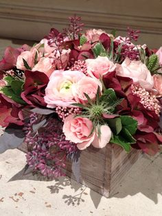 Pink Ranuculus, Red Antique Hydrangea, Green Thistle, Pink Spray Roses, Seeded Euc, Wood Box www.cityscents.com