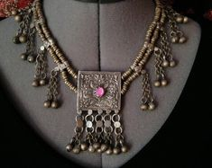 Kashmiri Necklace Prayer Box Pendant Tribal Jewelry Adornment from South Asia Pink Center