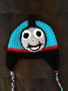 Hand Crocheted Thomas the Train hat