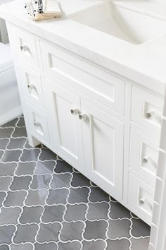 Arabesque - Horizontal In-lay Gray floor tiles. The gray tiles are Arabesque Iron City Crackle tile is from Famosa Tiles. Gray Arabesque Tiles.