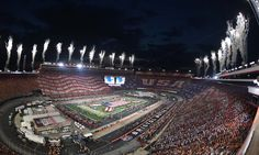 Sep 10, 2016; Bristol, TN, USA;  General view of Bristol Motor Speedway during the national anthem before the Battle at Bristol college football game between the Virginia Tech Hokies and Tennessee Volunteers. Mandatory Credit: Christopher Hanewinckel-USA TODAY Sports ORG XMIT: USATSI-269300 ORIG FILE ID:  20160910_jla_ah2_574.jpg    **Listening to Jennifer Nettles sing the National Anthem and seeing this in the background gave me chills ❤🏈🇺🇸**