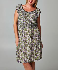 Love this Lavender & Green Floral Peasant Dress - Plus by Christine V on #zulily! #zulilyfinds
