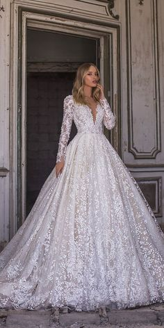 WONÁ Wedding Dresses Total Inspiration For 2020 ❤ wona wedding dresses ball gown with long sleeves v neckline lace sequins nelson Evening Dresses For Weddings, Long Sleeve Wedding, Wedding Dress Sleeves, Princess Wedding Dresses, Modest Wedding Dresses, Lace Weddings, Elegant Dresses, Romantic Weddings, Gowns With Sleeves