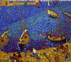 Bateaux à Collioure (1905) André Derain. Les peintures fauvistes de Derain combinent la véhémence d'un Vlaminck avec la culture d'un Matisse. La technique pointilliste de diviser les couleurs et la technique fauviste de les faire coïncider, se mélange dans un style joyeux. Les paysages de Saint-Tropez, Collioure, et Londres font partie des chefs d'oeuvre de sa brève période fauvisme.