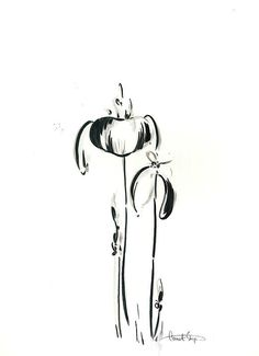 Abstract flowers. Ink Drawing.