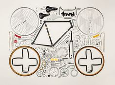 "Photography series ""Things Come Apart"" by Canadian photographer Todd McLellan pictures satisfying disassembly and organization of everyday objects. William Morris, Pimp Your Bike, Things Organized Neatly, Exploded View, Plakat Design, Coming Apart, Colossal Art, Bicycle Art, Take Apart"
