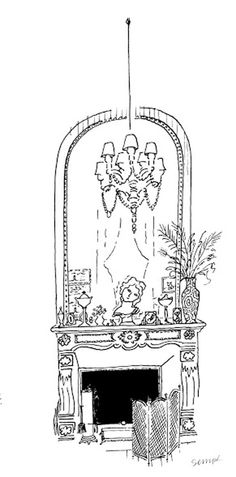 Le décor illustré par Jean-Jacques Sempé pour la comédie musicale Les Parapluies de Cherbourg au Théâtre du Châtelet @J.J. Sempé