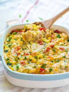 Cheesy Corn Chicken Quinoa Casserole — A lightened up, healthy corn bake made with simple, REAL ingredients. EASY recipe that our whole family loves. High protein and no canned soups! @wellplated