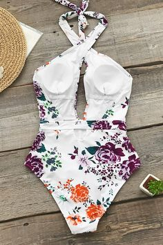 Rose Garden Wrap One-Piece Swimsuit Buy Now Halter One Piece Swimsuit, One Piece Bikini, Haut Bikini, Bikini Set, Bikini Floral, Sports Bra Outfit, Striped One Piece, Comfortable Bras, Summer Suits