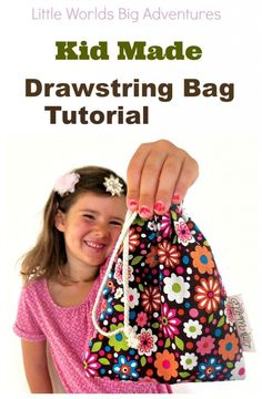 Kid Made Drawstring Bag Tutorial | Introduce children to sewing with this easy to follow tutorial for making a simple drawstring bag. | Little Worlds Big Adventures