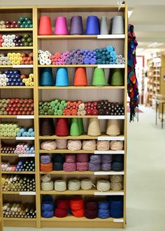 Handweavers Studio Gallery in Finsbury Park, North-East London. Thread Storage, Yarn Storage, Yarn Display, Wool Shop, Yarn Shop, Studio Weave, Weaving Yarn, Studio Organization, Yarn Stash