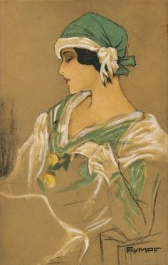 Art Deco post card.  Art by Fritz Rumpf.