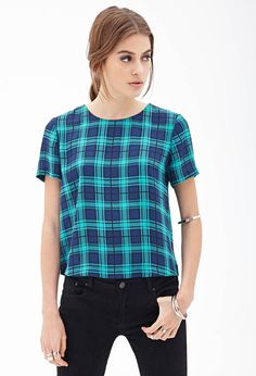 Boxy Plaid Top - Clothing - Tops - 2000102298 - Forever 21 UK