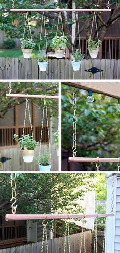 A DIY Copper Pipe Outdoor Hanging Garden by Stephanie Fisher of Glitter and Goat Cheese. See it on The Home Depot Blog. || @stephsfisher