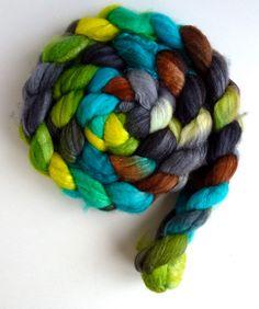 Merino/ Superwash Merino/ Silk Roving (Top) - Handpainted Spinning or Felting Fiber, Fern Folly
