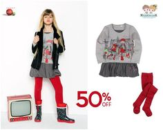 #Girls' grey #dress with balloon skirt and maroon #tights from the Spanish brand #Boboli with 50% #discount. We deliver worldwide.  Shop now at www.kidsandchic.com/brands/boboli-clothes  #sale #rebajas #kidsandchic #kidsboutique #barcelona #castelldefels #shoponline