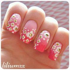 Flowers on pink ombre!  Check out my instagram @liliumzz  #nail #nails #nailart #naildesign#nailpolish #nailstagram #manicure #dottingtool #flowers #floral #floralnailart #mani #dotticure #nagellack #nailspiration #neglelakk #dotts #ombre #ombrenails #pinkpolish #studs #goldstuds #liliumzz #whiteflowers #floralprint