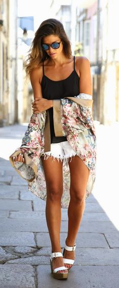 Everyday New Fashion: Summer Style in a Kimono and Cutoffs