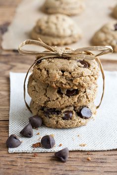 These peanut butter and chocolate chip cookies only have six ingredients! They are gluten free, dairy free, and they taste amazing. They actually taste like they have flour in them!