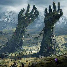 ideas for dark fantasy landscape rpg Dark Fantasy Art, Fantasy Artwork, Fantasy Art Landscapes, Fantasy Concept Art, Fantasy Kunst, Fantasy City, Landscape Art, Final Fantasy, Fantasy Places