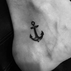 Small Anchor Tattoo on Ankle by Miami Tattoo
