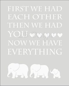 Gender Neutral Nursery Decor, Gray and White Elephant Nursery Print, Elephant Nursery Decor - 8x10