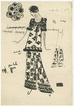 Chloé Attitudes Karl Lagerfeld per Chloé, Autunno/inverno 1969, outfit Fausse Alerte. #FashionIllustrationsKisyovaLazarinova