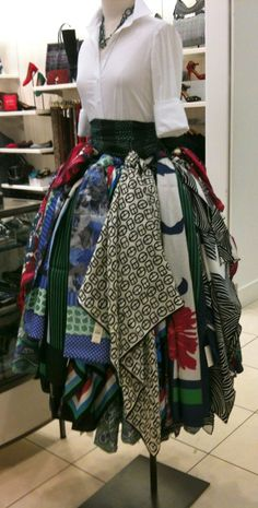 Here's a fun way to display scarves – or tea towels - for any season