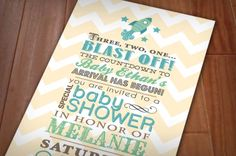 SPACE ROCKET Boy Baby Shower Printable by PrintasticDesign on Etsy