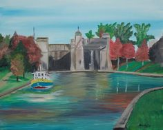 Artist: Royal Rae Acrylic on stretched canvas 2 hour painting of the Peterborough Lift Locks