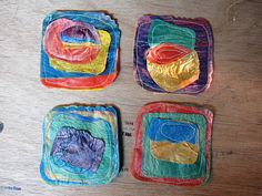 i'm really tired but i decided that posting this will be my last task today, so i've been fusing plastic bags for 5 days now, for those of y… Source by celesteskalkala Fused Plastic, Melted Plastic, Plastic Art, Melted Beads, Plastic Spoons, Plastic Bag Crafts, Recycled Plastic Bags, Yarn Crafts, Recycled Art Projects