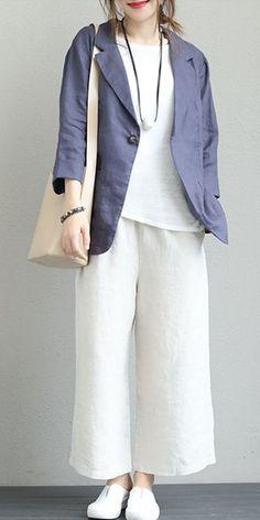 Casual Linen Jacket Women Coats For Fall Casual Dresses For Women, Casual Outfits, Summer Outfits, Fashion Outfits, Hijab Style Dress, Hijab Outfit, Coats For Women, Jackets For Women, Clothes For Women