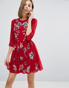 Shop ASOS PREMIUM Mini Skater Dress with Floral Embroidery. With a variety of delivery, payment and return options available, shopping with ASOS is easy and secure. Shop with ASOS today. Classy Dress, Classy Outfits, Long Floral Maxi Dress, Casual Dresses, Short Dresses, Mini Dresses, Tall Dresses, Bordado Floral, Hippy Chic