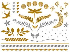 Montattoo N° 21 - Gold Collection, a fine collection of premium temporary hair tattoos. This glamorous collection consists of golden and silver temporary hair tattoos. This tattoo set includes birds, flowers, wreaths, diamonds, hearts, shells, the moon, stars, butterflies, a dragonfly and hair-bracelets. #t4aw #temporarytattoo #hairtattoo #montattoo #goldtattoo #silvertattoo