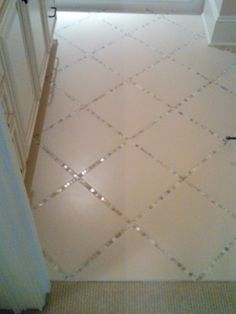 "Lay a thin strip of ""backsplash"" tile in between the large tiles, instead of just using grout. pretty! @ Pin For Your Home"