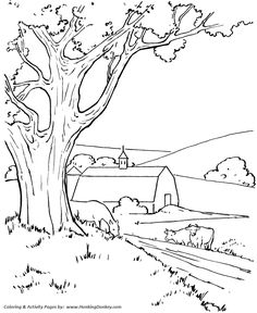 Farm scenes coloring page | Farm barn, sunflowers and a butterfly ...