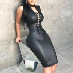 PU Deep V Lace-Up Front Slinky Bodycon Dress