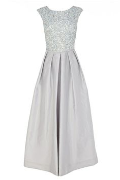 Totally cute prom dress - although if I knew a teenager wearing this I'd encourage them to have it shortened to tea length. Shorter is cuter.  Coast is a popular choice at the top end of the market: this silver maxi dress has the requisite sparkle. £496,