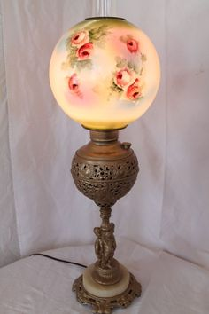 Electrified Miller Banquet Oil Lamp and Outstanding Original Shade w/ Roses. Featutring a wonderful base with three cherubs and embossed outer font holder