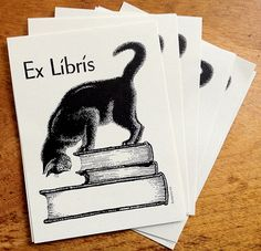 Cat Atop Stack of Book Antioch Bookplate by BookplateInk on Etsy
