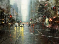 """Hsin-Yao Tsen, Rainy day on market st.  18""""x24"""" Oil on Panel 2011"""