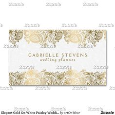197 best event planner business card templates images on pinterest elegant gold on white paisley wedding planner business card flashek Gallery