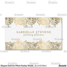Elegant gold on white paisley wedding planner business card elegant gold on white paisley wedding planner business card accmission Choice Image