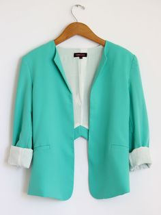 Turquoise Cut Out Tailor Blazer $66