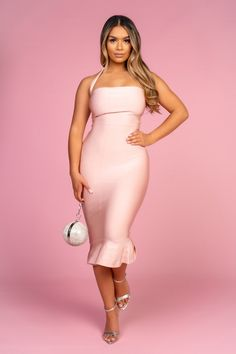 Midi Dresses Uk, Pink Midi Dress, Size Model, Shoulder Straps, Blush Pink, Babe, Bodycon Dress, Lingerie, Spandex