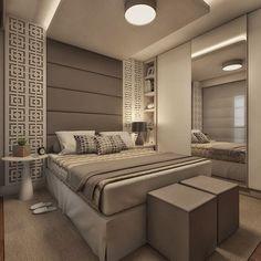 Projeto de interiores para suíte master em apartamento. Adição do painel vazado às laterais da cama. Projeto Guapo Arquitetura e Interiores.